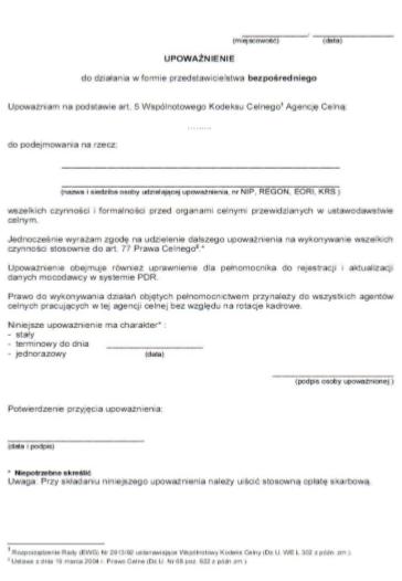 Fracht morski. Przykładowy dokument upoważniający przedstawiciela bezpośredniego do podejmowania czynności.