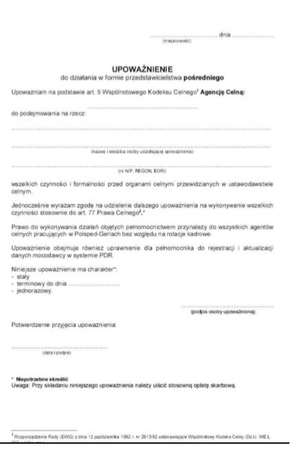 Fracht Morski. Przykładowy dokument upoważniający przedstawiciela do działań związanych z ładunkiem.